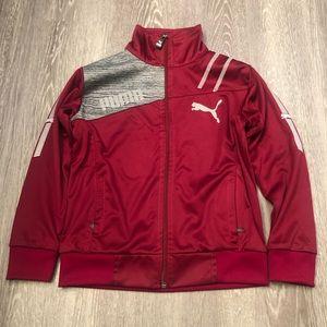 PUMA Boys Full Zip Track Jacket Burgundy SZ 10